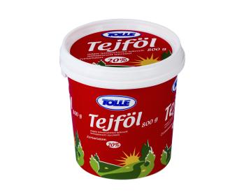 Sour cream in bucket, 20% fat content